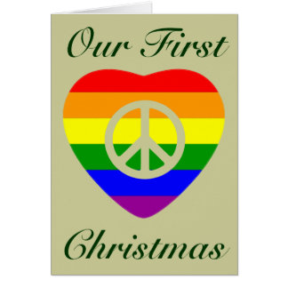 FIRST CHRISTMAS AS MARRIED GAY COUPLE GREETING CARD