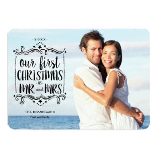 First Christmas as Mr and Mrs Holiday Photo Card 13 Cm X 18 Cm Invitation Card