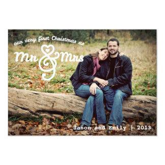 First Christmas as Mr & Mrs Holiday Photo Card 13 Cm X 18 Cm Invitation Card