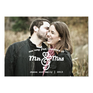 First Christmas as Mr & Mrs Holiday Photo Card 13 Cm X 18 Cm Invitation Card