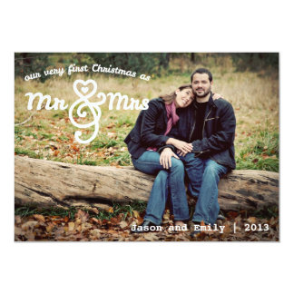 First Christmas as Mr & Mrs Holiday Photo Card Personalized Invite