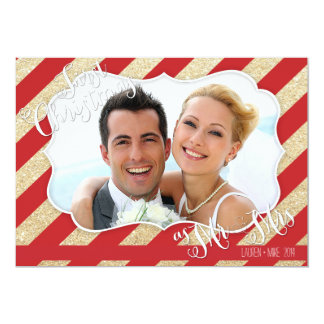 First Christmas as Mr & Mrs Red and Gold Card 13 Cm X 18 Cm Invitation Card