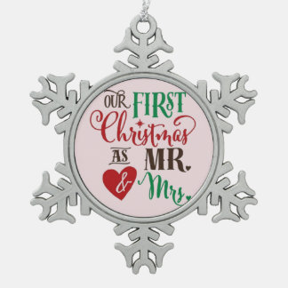 First Christmas as Mr & Mrs Snowflake Pewter Christmas Ornament
