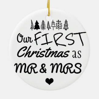 First Christmas As Mr & Mrs Typography | Heart Christmas Ornament