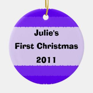 First Christmas Decoration Purple Round Ceramic Decoration