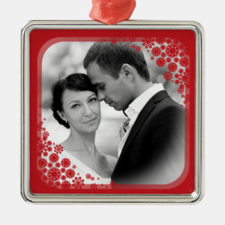 First Christmas Delicate Snowflakes Wedding Photo Christmas Ornament