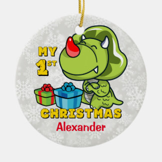 First Christmas Dinosaur Custom Christmas Ornament