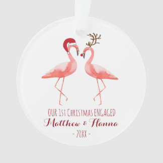 First Christmas engaged or married funny flamingos