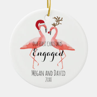 First Christmas Engaged or married funny flamingos Christmas Ornament