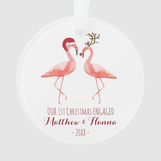 First Christmas engaged or married funny flamingos Ornament