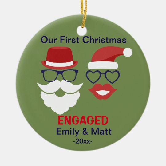 First Christmas engaged ornament - moustache lips