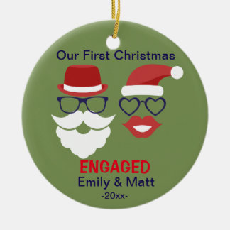 First Christmas engaged ornament - mustache lips
