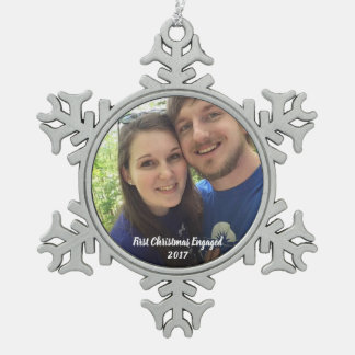 First Christmas engaged photo ornament