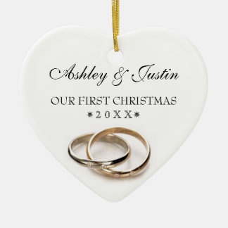 First Christmas Entwined Wedding Rings Double-Sided Heart Ceramic Christmas Ornament