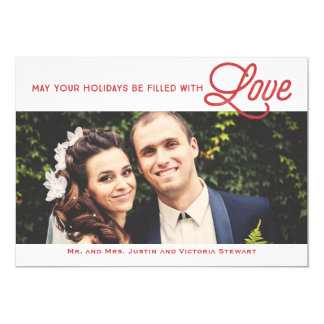 First Christmas Filled With Love Holiday Photo 13 Cm X 18 Cm Invitation Card