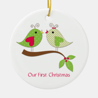 First Christmas Green Polka Dot LoveBirds on Holly Round Ceramic Decoration