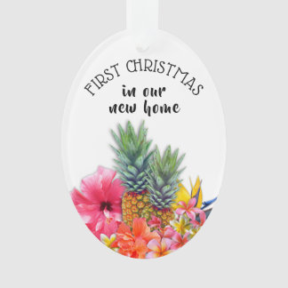 First Christmas Hawaiian Flowers Custom Oval Ornament