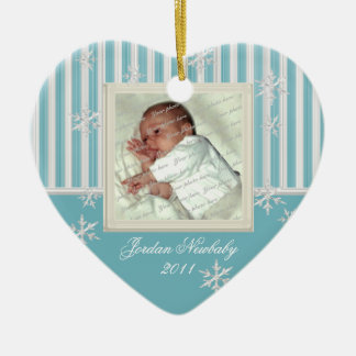 First Christmas Heart and Snowflakes Light Blue Double-Sided Heart Ceramic Christmas Ornament