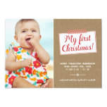 "First Christmas | Holiday Photo Card 5"" X 7"" Invitation Card"