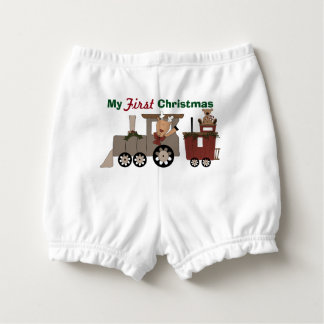 First Christmas Holiday Train Diaper Cover Nappy Cover