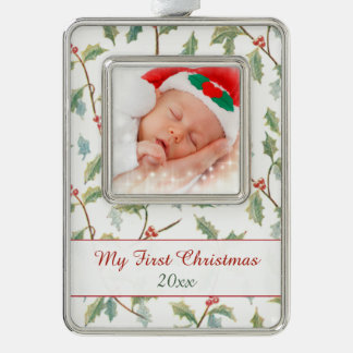 First Christmas Holly and Custom Photo Silver Plated Framed Ornament