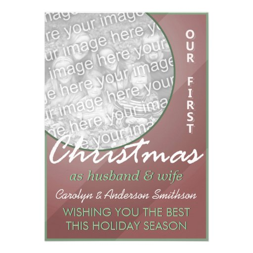 First Christmas Husband & Wife Red Green Custom Announcement