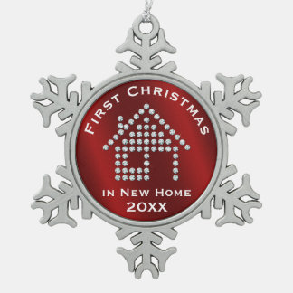 First Christmas in New Home 2017 | Red Metallic Snowflake Pewter Christmas Ornament