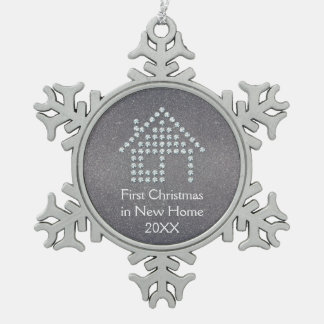 First Christmas in New Home 2018 | Luxury Snowflake Pewter Christmas Ornament