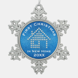 First Christmas in New Home 20XX | Glitter Blue Pewter Snowflake Decoration