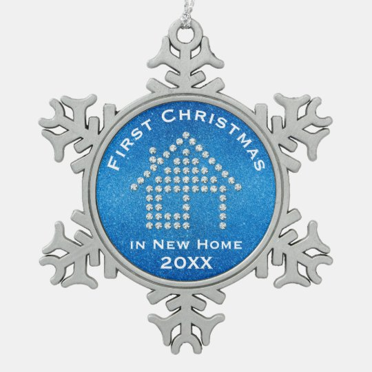 First Christmas in New Home 20XX | Glitter Blue Snowflake Pewter Christmas Ornament