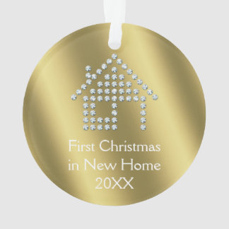 First Christmas in New Home 20XX | Gold metallic Ornament