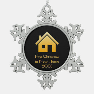 First Christmas in New Home 20XX | Orange Snowflake Pewter Christmas Ornament