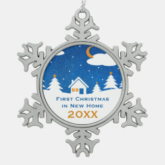 First Christmas in New Home 20XX | Unique Gifts Snowflake Pewter Christmas Ornament