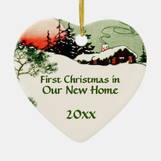 First Christmas in New Home | Country Cabin Heart Ceramic Heart Decoration
