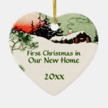 First Christmas in New Home Country Cabin Heart Ceramic Heart Decoration