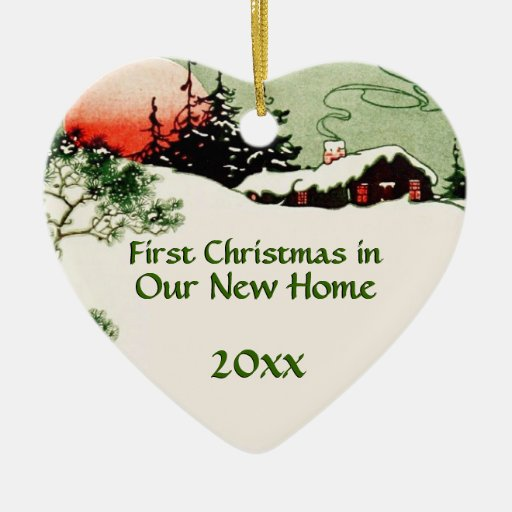 First Christmas In New Home Country Cabin Heart Ceramic Heart Decoration Za