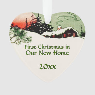 First Christmas in New Home | Country Cabin Winter Ornament