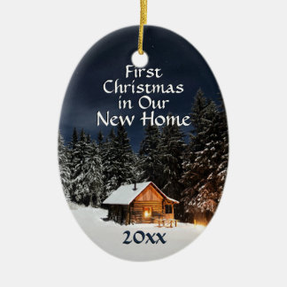 First Christmas in New Home Country Rustic Cabin Christmas Ornament