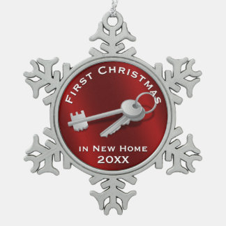 First Christmas in New Home | House Keys Snowflake Pewter Christmas Ornament