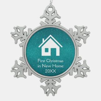 First Christmas in New Home | Turquoise Glitter Snowflake Pewter Christmas Ornament