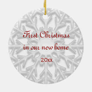 First Christmas in New Home White Snowflake Christmas Ornament