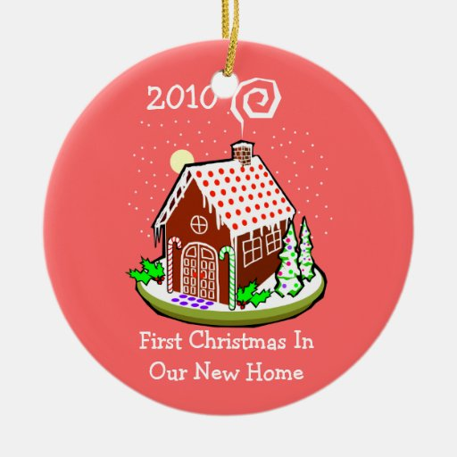 First Christmas In Our New Home 2010 Gingerbread Round Ceramic Decoration Zazzle