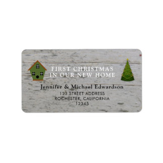 First Christmas in our new Home return address Label