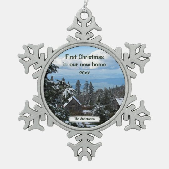 First Christmas in our new home Template Snowflake