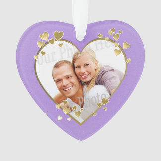 First Christmas Lavender Heart Photo Ornament