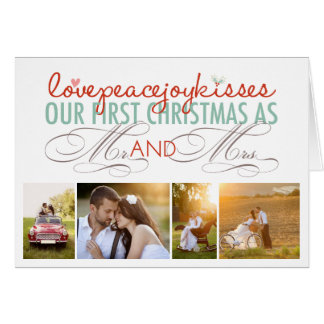 First Christmas Love Mr & Mrs Photo Greeting Card