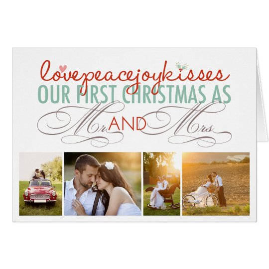 First Christmas Love Mr & Mrs Photo Greeting
