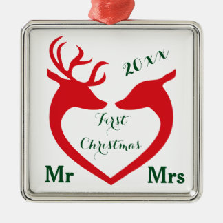 First Christmas Married Mr and Mrs Heart Deer Silver-Colored Square Decoration
