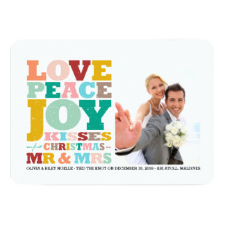 First Christmas Mr and Mrs Holiday Greetings 13 Cm X 18 Cm Invitation Card