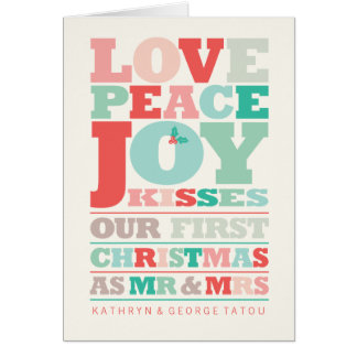 First Christmas Mr and Mrs Holiday Photo Greetings Greeting Card